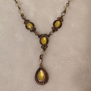 Avon Jewelry - Yellow stone diamond vintage Avon necklace